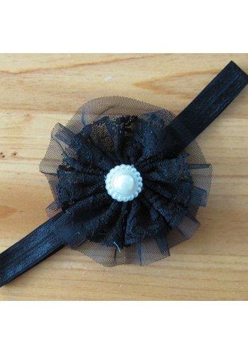 SALE - Haarband Bloem met Parel -  Zwart