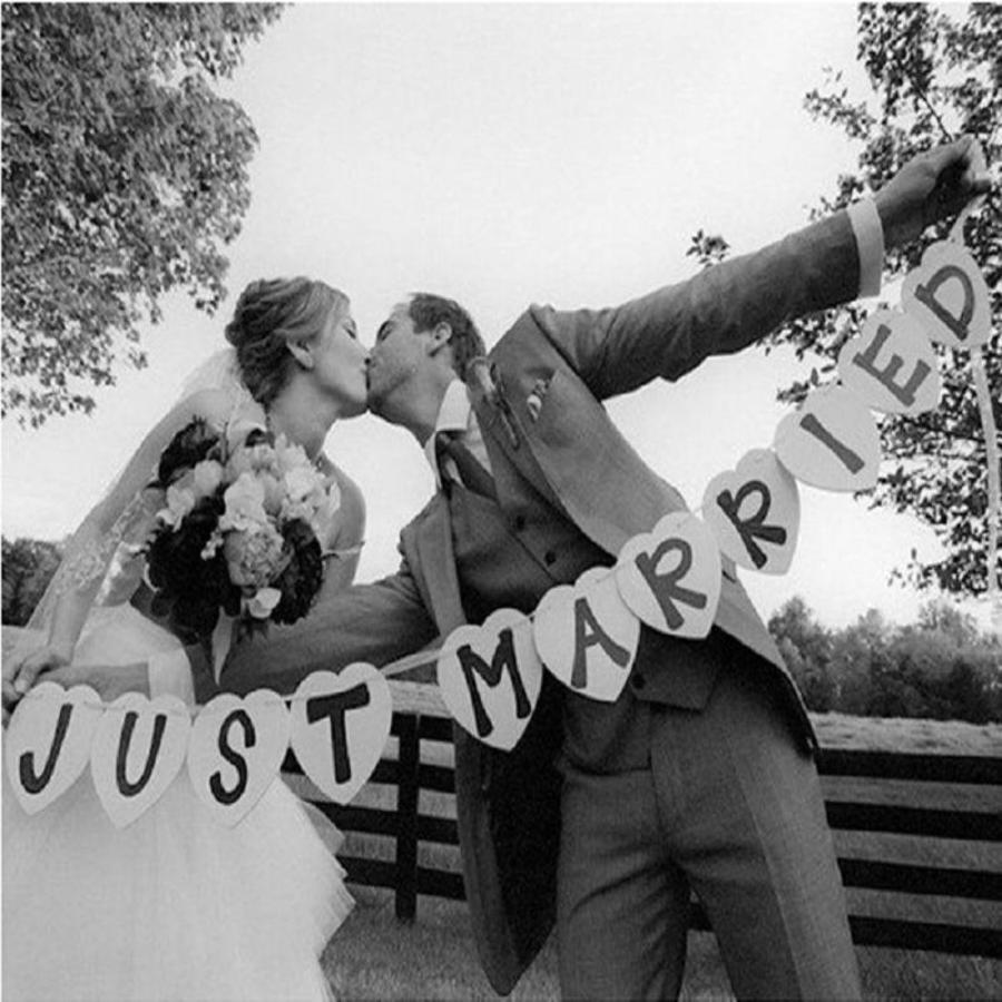 Just Married Hart Slinger- Bruiloft Decoratie-1