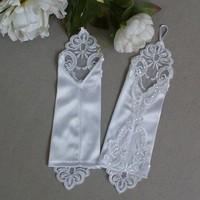 thumb-Bruidshandschoenen van Glanzend Satijn - Ivoor-3