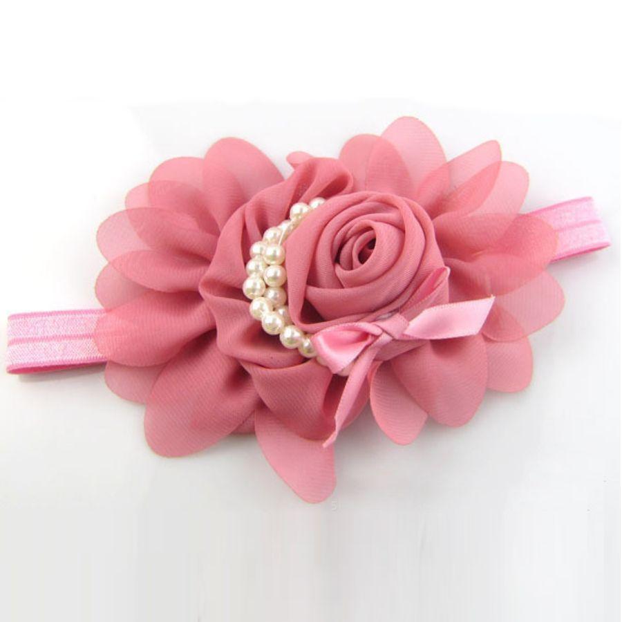 Haarband Bloem - Oud Roze-3