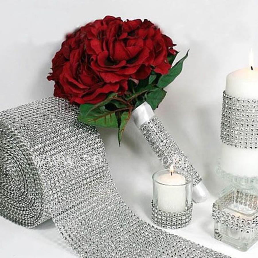 Diamanten 39 lint 39 90 cm zilver bruiloft decoratie for Decoratie zilver