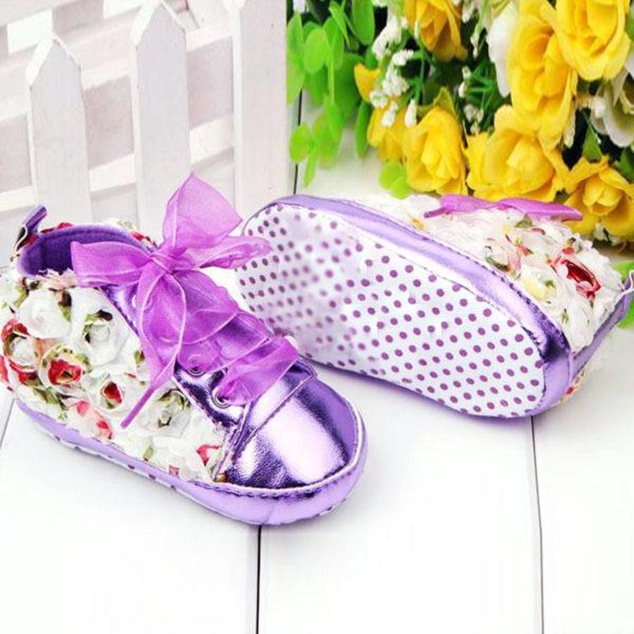 Bloemen Sneakers - Paars / Lila - 011-1