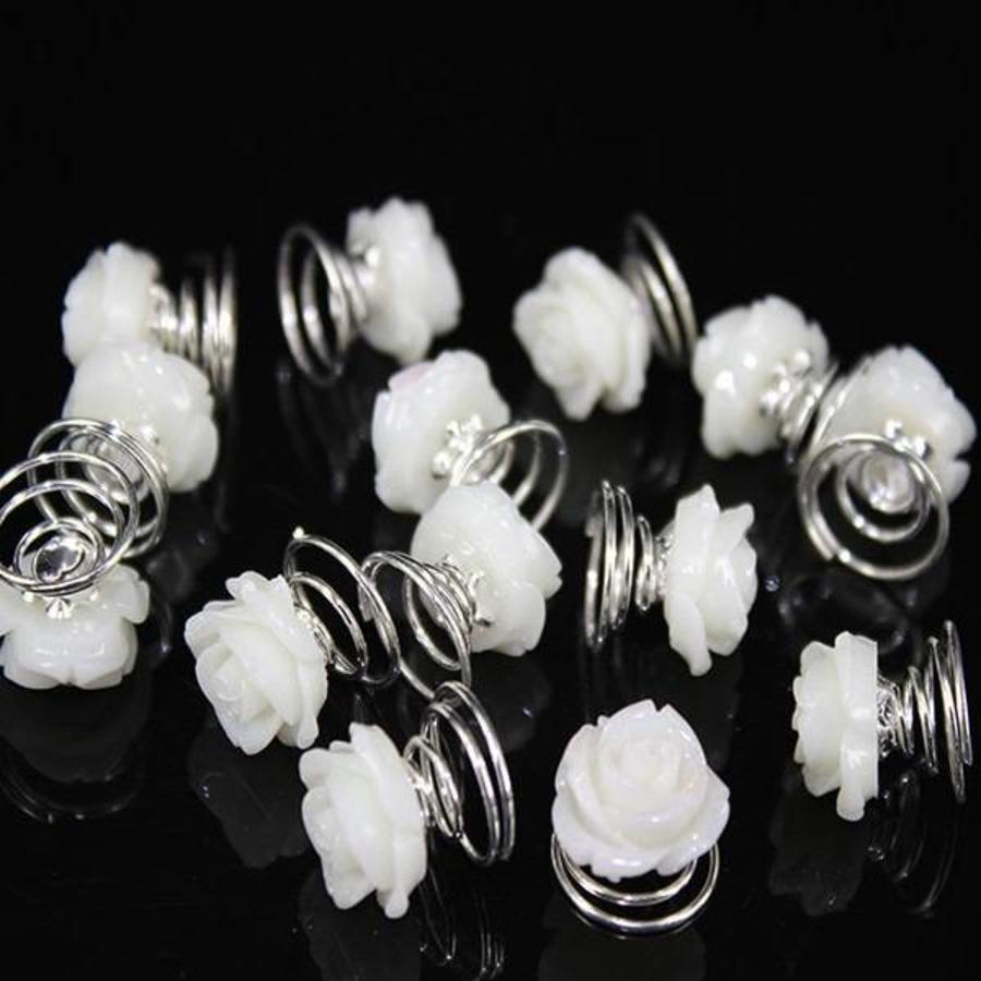 Prachtige Ivoor Kleurige Roosjes Curlies - 5 stuks-2