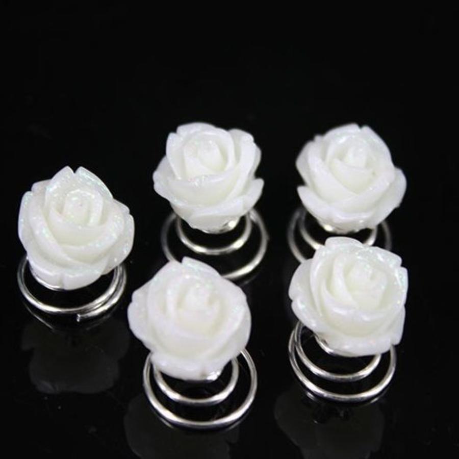 Prachtige Ivoor Kleurige Roosjes Curlies - 5 stuks-1