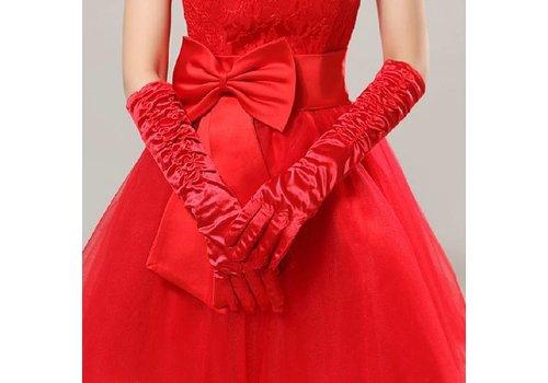 SALE - Chique Rode Bruidshandschoenen
