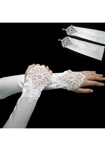 Elegante Bruidshandschoenen van Glanzend Satijn - Ivoor
