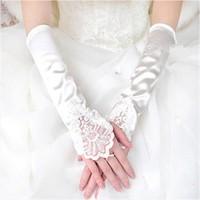thumb-Elegante Bruidshandschoenen van Glanzend Satijn - Ivoor-2