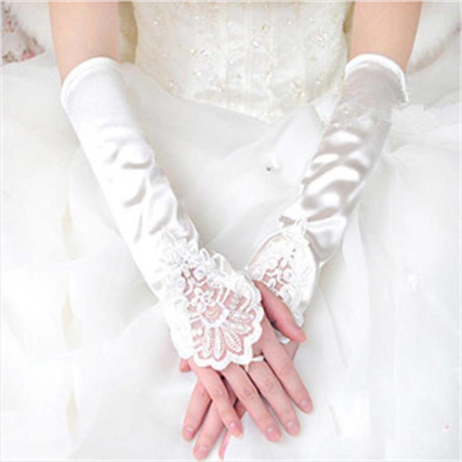 Elegante Bruidshandschoenen van Glanzend Satijn - Ivoor-2