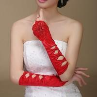 thumb-SALE - Elegante Rode Bruidshandschoenen-2