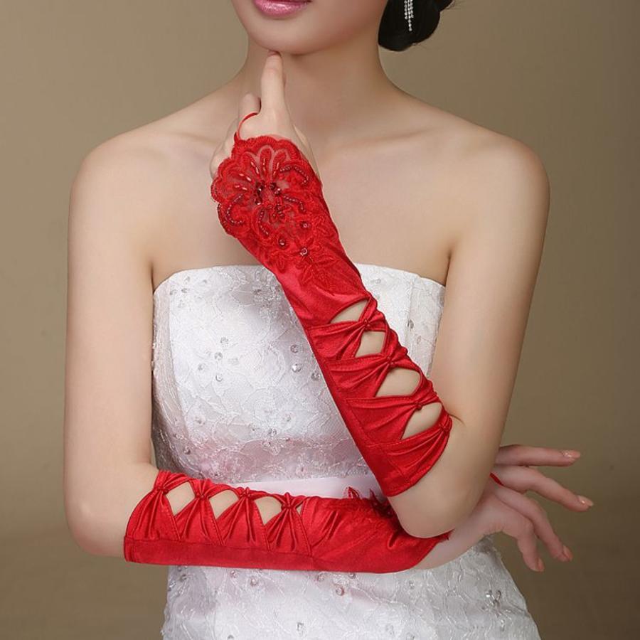 SALE - Elegante Rode Bruidshandschoenen-2