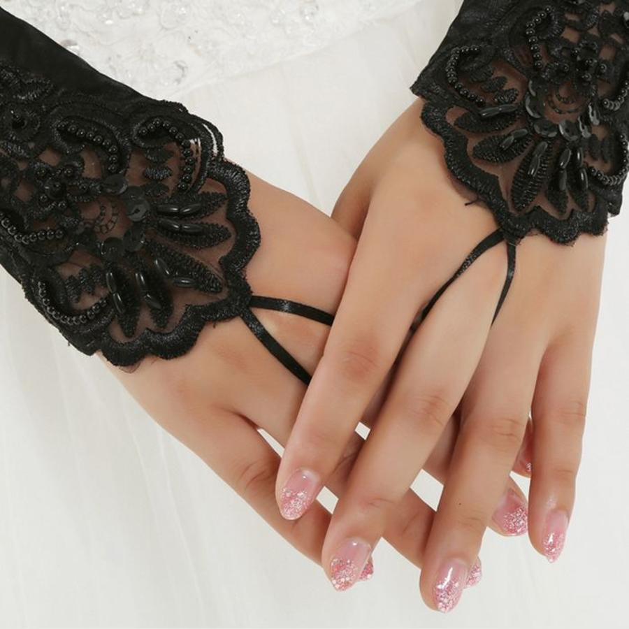 Bruidshandschoenen van Glanzend Satijn - Zwart-3