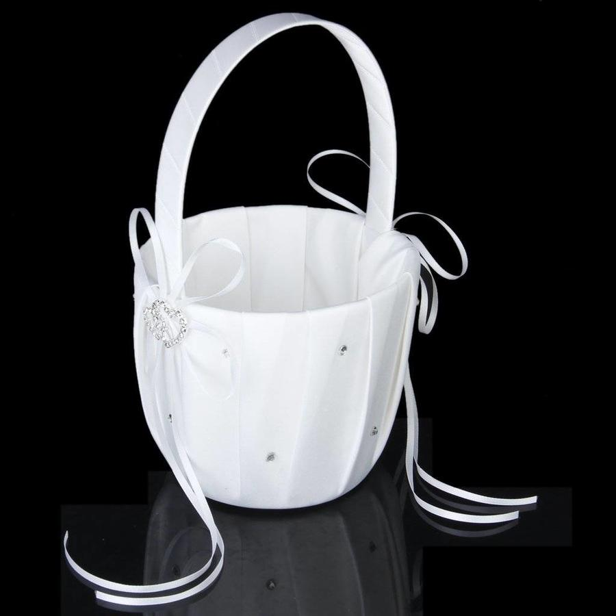 Bloemenmandje / Strooimandje Wit met Fonkelende Hartjes en Diamantjes-9