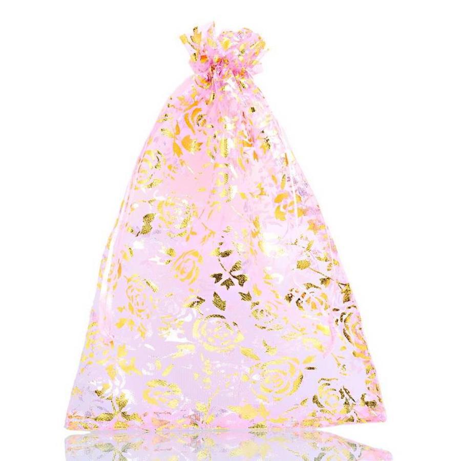 Organza Zakjes Licht Roze met Gouden Roosjes - Huwelijks Bedankje - 50 stuks-7