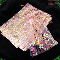 thumb-Organza Zakjes Licht Roze met Gouden Roosjes - Huwelijks Bedankje - 50 stuks-2
