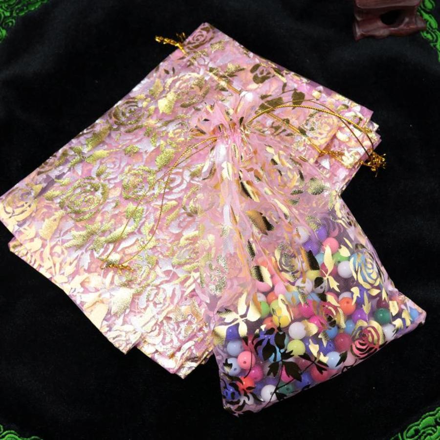 Organza Zakjes Licht Roze met Gouden Roosjes - Huwelijks Bedankje - 50 stuks-2