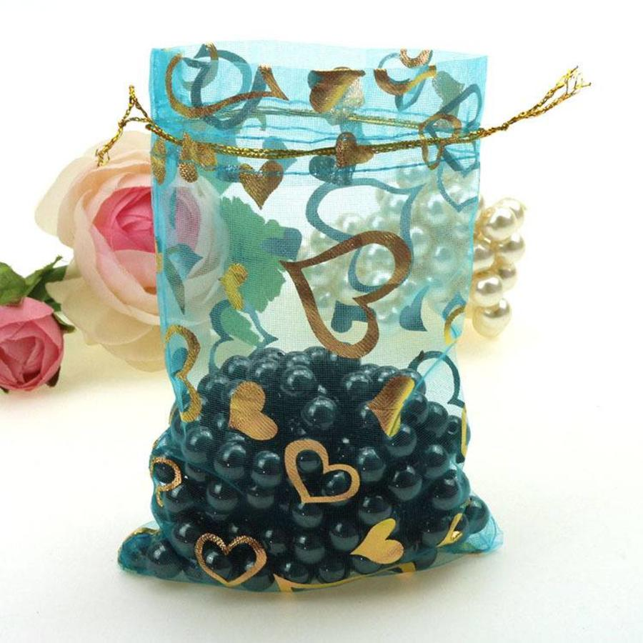 SALE - Organza Zakjes Aqua Blauw met Hartjes - Huwelijks Bedankje - 50 stuks-8