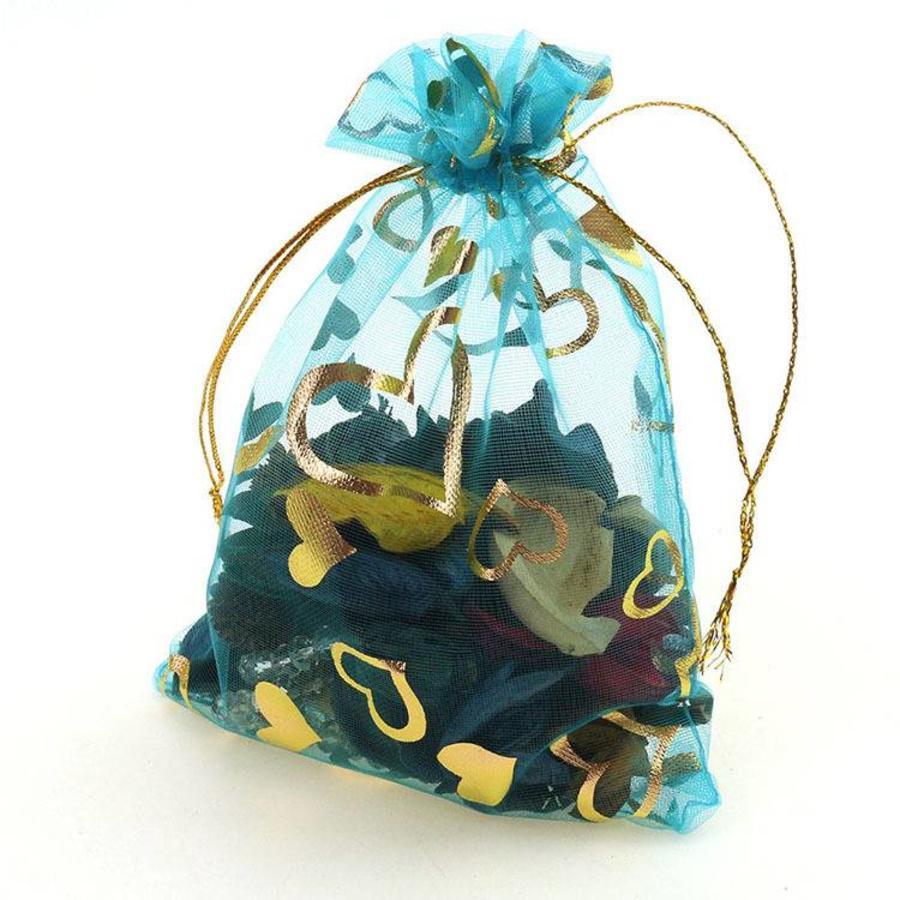 SALE - Organza Zakjes Aqua Blauw met Hartjes - Huwelijks Bedankje - 50 stuks-7