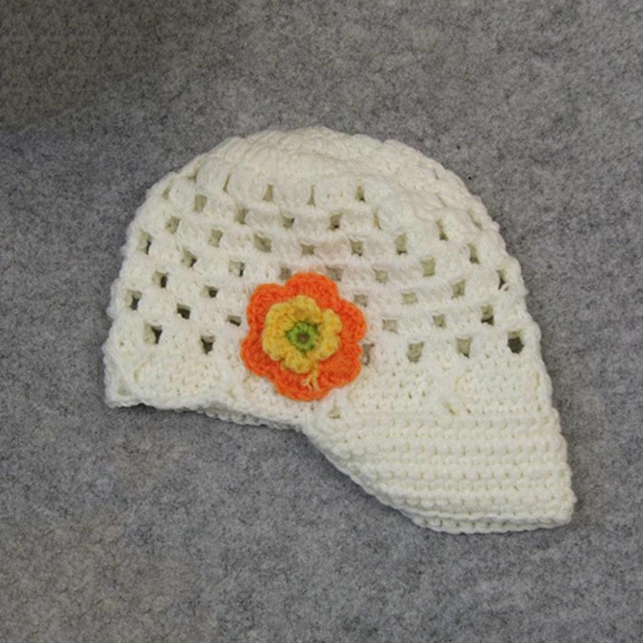 Gebreide kindermuts / petje - Off White, Oranje, Geel en Groen-1