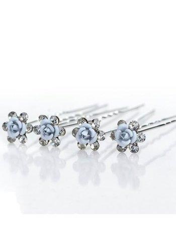 Hairpins – Zacht Blauw Bloemetje met Diamantjes - 5 stuks