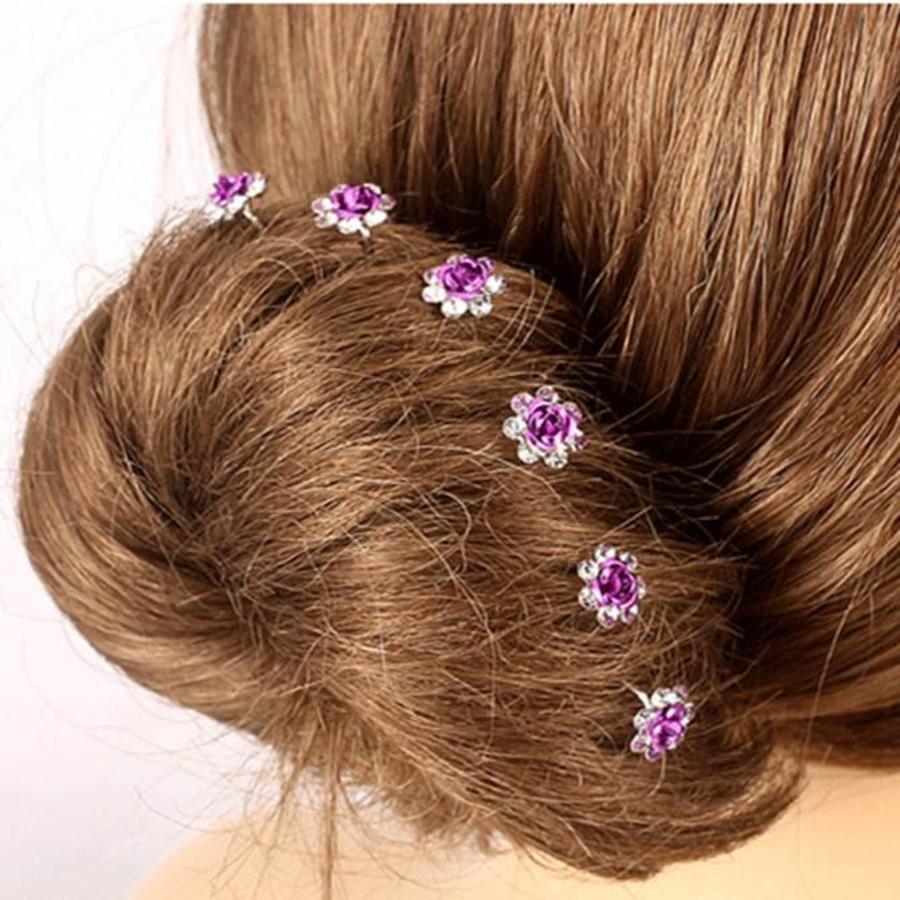 Hairpins – Paars Roosje - 5 stuks-1