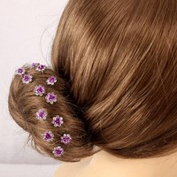 thumb-Hairpins – Paars Roosje - 5 stuks-6