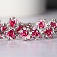 thumb-Hairpins – Roze Roosje - 5 stuks-4