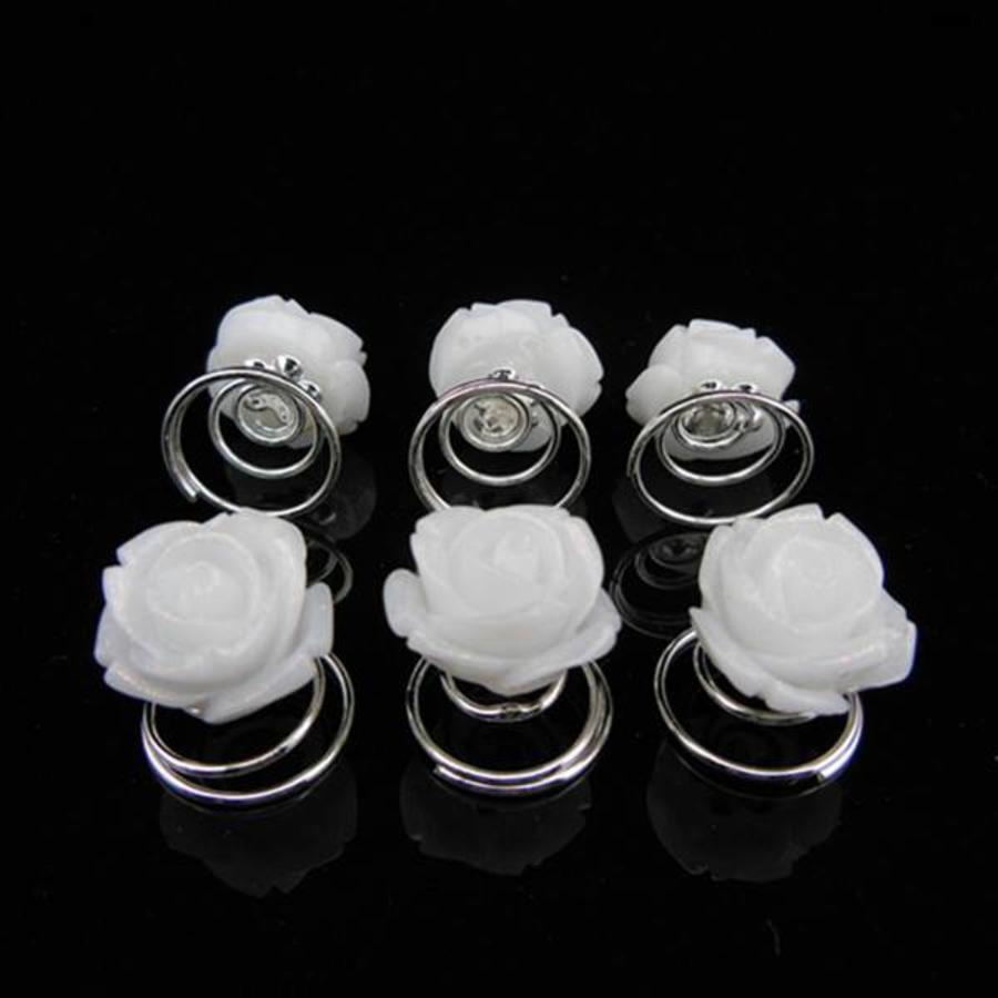 Prachtige Witte Roosjes Curlies - 6 stuks-3
