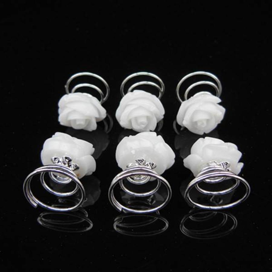 Prachtige Witte Roosjes Curlies - 6 stuks-2