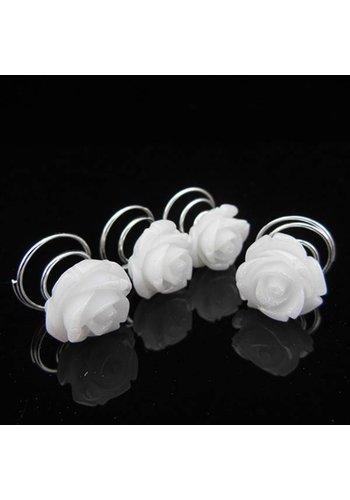 Prachtige Witte Roosjes Curlies - 5 stuks