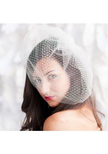 Witte Birdcage Veil van French Netting / Mini Sluier