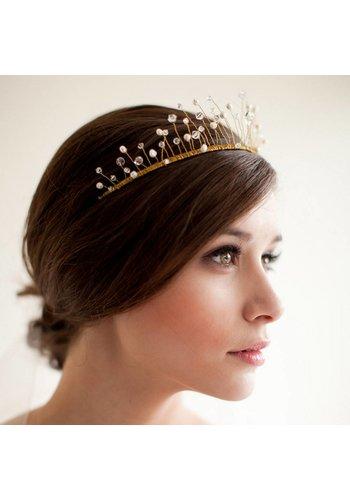 Goudkleurige Tiara / Kroon met Parels en Kristallen