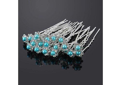 Hairpins – Bloemetje met Aqua Blauwe Parel - 5 stuks