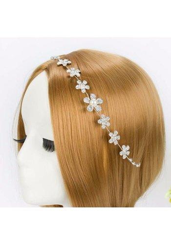 Elegant Haar Sieraad met Kristallen, Bloemen en Ivoorkleurige Parel