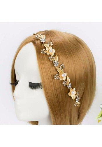 Sierlijk Goudkleurig Haar Sieraad met Parels en Kristallen