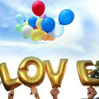 thumb-SALE - LOVE - Helium Ballonnen - Goud-2