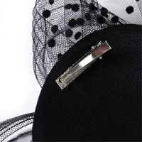 thumb-Chique Fascinator / Birdcage Veil - Zwart-9