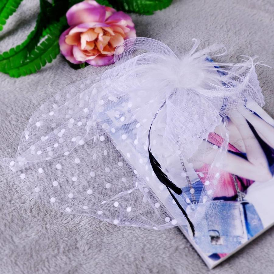 Chique Fascinator / Birdcage Veil - Ivoor / Off White-7