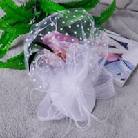 thumb-Chique Fascinator / Birdcage Veil - Ivoor / Off White-8