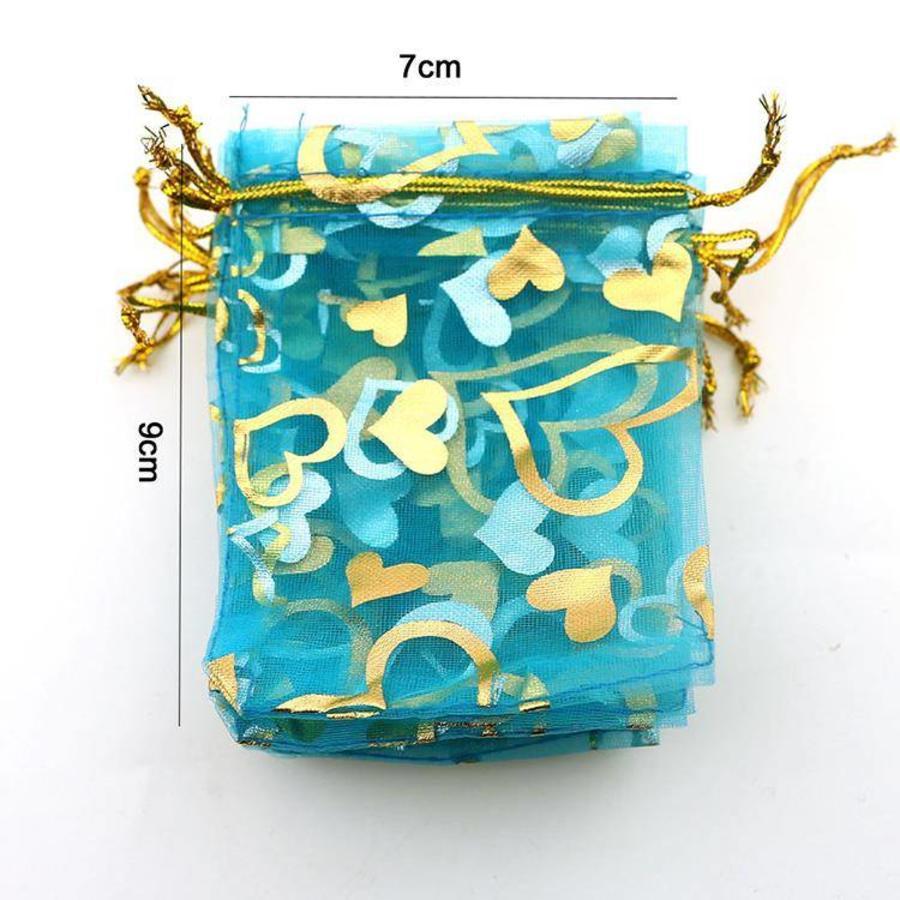 SALE - Organza Zakjes Aqua Blauw met Hartjes - Huwelijks Bedankje - 50 stuks-4