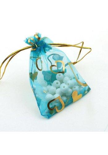 SALE - Organza Zakjes Aqua Blauw met Hartjes - Huwelijks Bedankje - 50 stuks