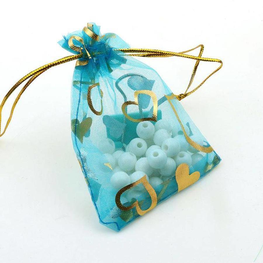 SALE - Organza Zakjes Aqua Blauw met Hartjes - Huwelijks Bedankje - 50 stuks-1