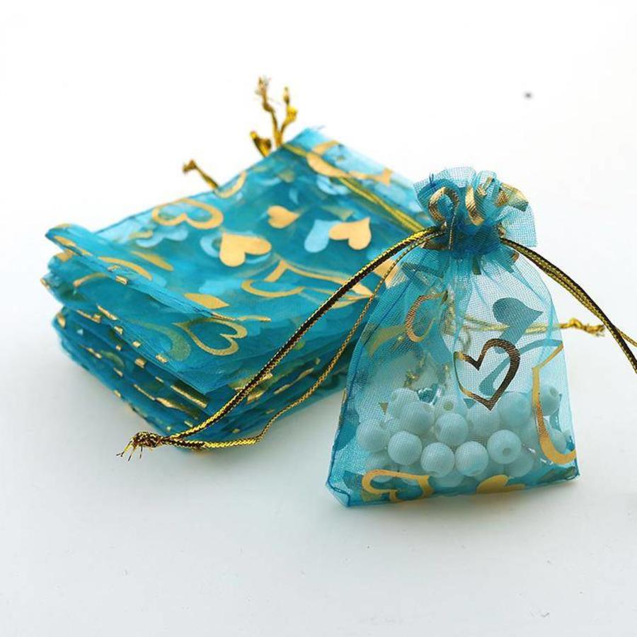 SALE - Organza Zakjes Aqua Blauw met Hartjes - Huwelijks Bedankje - 50 stuks-2