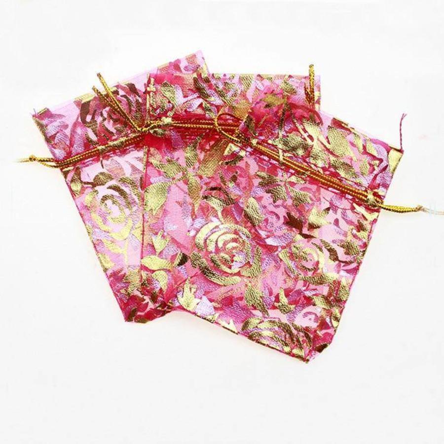 Organza Zakjes Roze met Gouden Roosjes - Huwelijks Bedankje - 50 stuks-5