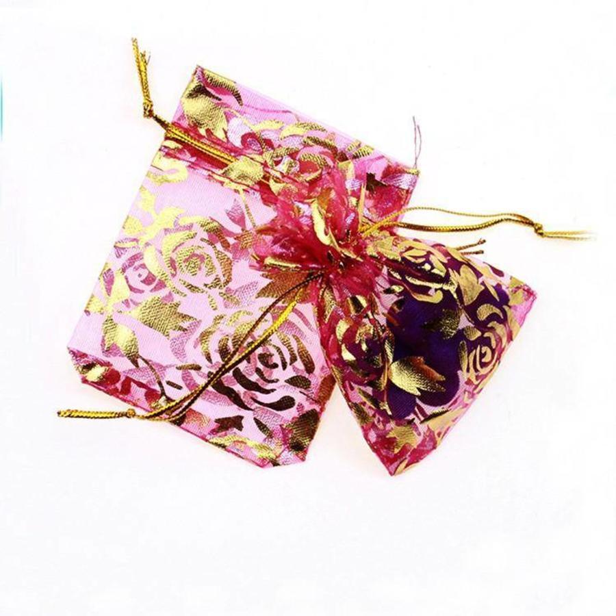 Organza Zakjes Roze met Gouden Roosjes - Huwelijks Bedankje - 50 stuks-2
