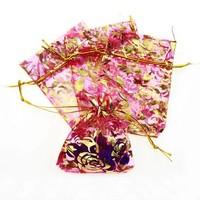 thumb-Organza Zakjes Roze met Gouden Roosjes - Huwelijks Bedankje - 50 stuks-4