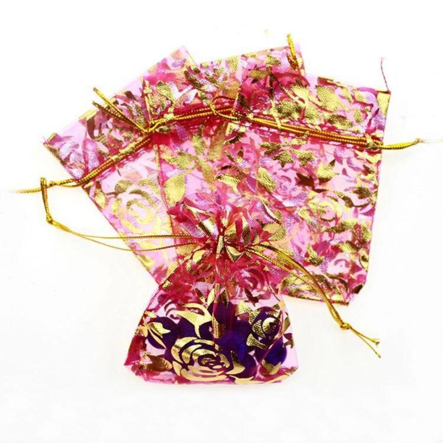 Organza Zakjes Roze met Gouden Roosjes - Huwelijks Bedankje - 50 stuks-4