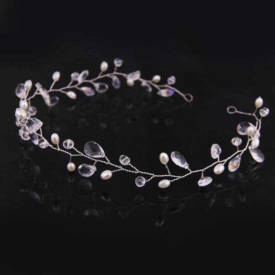 Elegant Haar Sieraad met Parels en Kristallen - Zilver-2