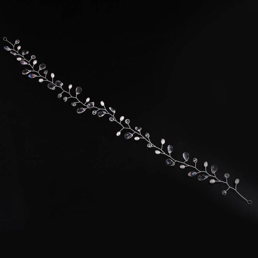 Elegant Haar Sieraad met Parels en Kristallen - Zilver-6
