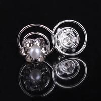 thumb-Bloem met Pareltje en Kristallen Curlies - 6 stuks-1