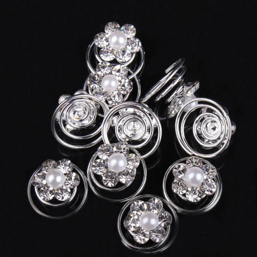 Bloem met Pareltje en Kristallen Curlies - 6 stuks-6